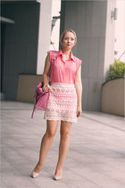 bubble gum Miss Nabi skirt - bubble gum balenciaga bag - nude OASAP heels