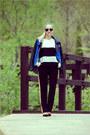 Navy-sheinside-jacket-black-ray-ban-sunglasses-white-sheinside-top