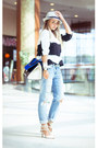Blue-woakao-bag-white-udobuy-heels-white-sheinside-top