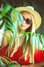 Red-6ks-dress-eggshell-h-m-hat-red-oasap-sunglasses