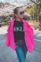 hot pink Styled Moscow jacket - black Styled Moscow t-shirt