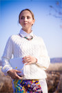 White-oasap-sweater-white-romwe-skirt-teal-h-m-necklace