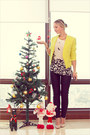 Yellow-vivilli-blazer-white-forever-21-top-black-romwecom-pants