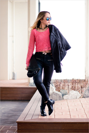 hot pink Love top - black OASAP boots - black Armani Exchange jacket