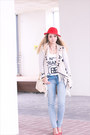 Light-blue-forever21-jeans-red-h-m-hat-ivory-romwe-bag-red-guess-heels