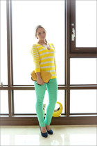 aquamarine Forever 21 jeans - yellow Forever 21 sweater - yellow Miss Nabi bag