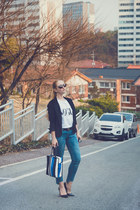 blue Styled Moscow bag - white Styled Moscow t-shirt