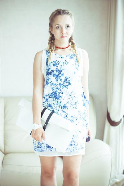 white Sheinside dress - white Choies bag - white asos watch - white Chanel ring