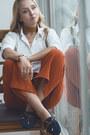 Navy-romwe-flats-burnt-orange-romwe-necklace-burnt-orange-forever-21-pants
