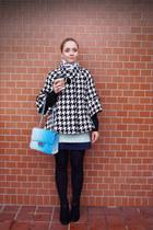 white Soup coat - aquamarine Ok skirt - black Forever 21 cardigan