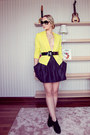 Yellow-vivilli-jacket-black-chanel-sunglasses-black-chicnova-skirt