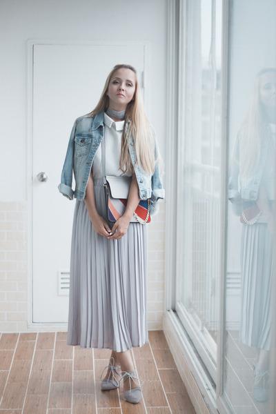 silver romwe bag - sky blue Levis jacket - silver romwe skirt
