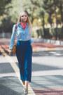 Yellow-romwe-belt-blue-forever-21-pants