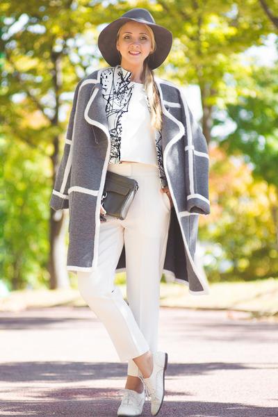 white Sheinside blazer - heather gray Rebecca Minkoff bag - white Choies pants