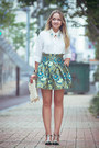 Turquoise-blue-oasap-skirt-white-goodnight-macaroon-blouse
