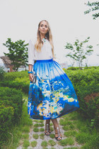 blue Chicwish skirt - white Zara bag - white GoodNight Macaroon blouse