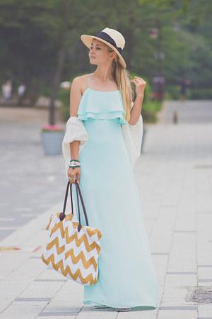 aquamarine Sheinside dress - nude H&M hat - neutral Nine West bag