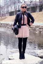 black asos boots - black Forever 21 bag - black Ray Ban sunglasses