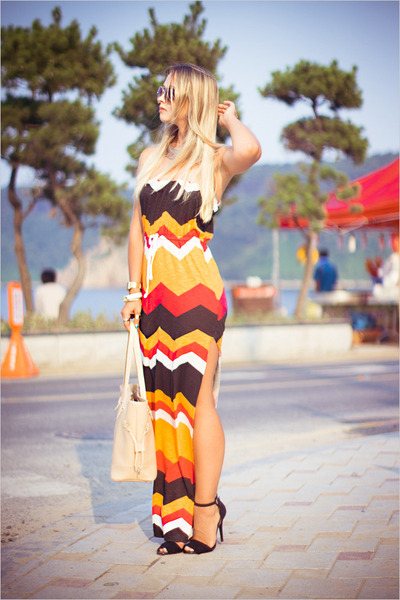 light orange asos dress - neutral PERSUNMALL bag - yellow Udobuy ring