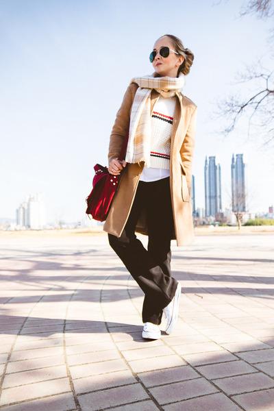 white Kooding sweater - camel OASAP coat - black zeroUV sunglasses
