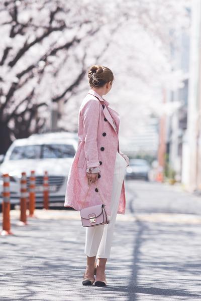 light pink romwe coat - light pink romwe blouse