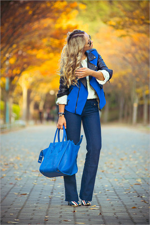 blue Sheinside jacket - white OASAP sweater - blue PERSUNMALL bag