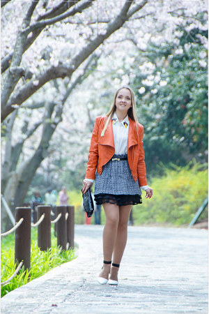 light orange Sheinside jacket - charcoal gray sammydress skirt