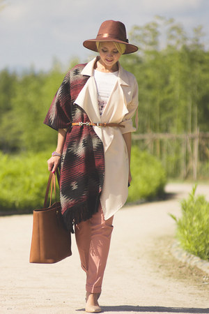 brown Michael Kors bag - dark brown JCrew hat - eggshell Sheinside blazer