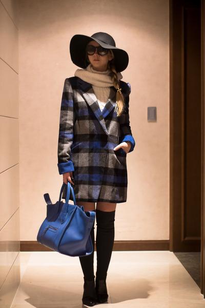 blue OASAP coat - black PERSUNMALL boots - black OASAP hat - blue PERSUNMALL bag