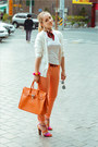 Orange-forever-21-jeans-red-milantro-scarf-orange-miss-nabi-bag