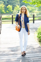 blue H&M blazer - white Maro Catte jeans - carrot orange Miss Nabi bag