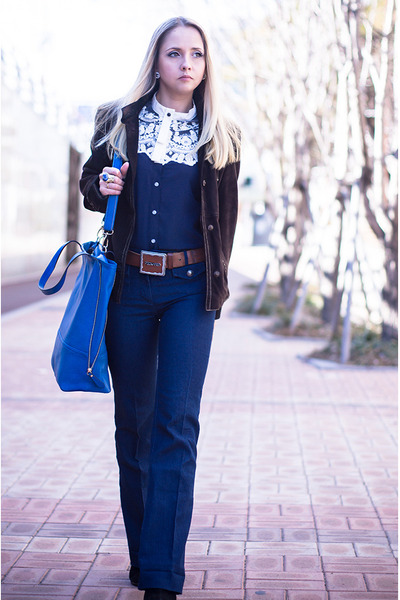 blue Sheinside blouse - blue nowIStyle bag - crimson DSquared belt