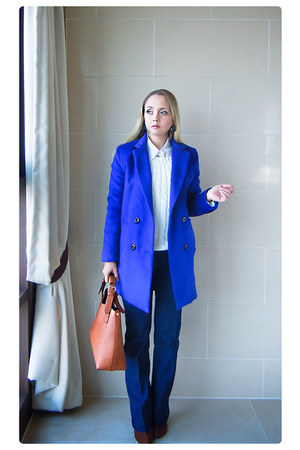 blue Sheinside coat - navy Forever 21 jeans - white OASAP sweater