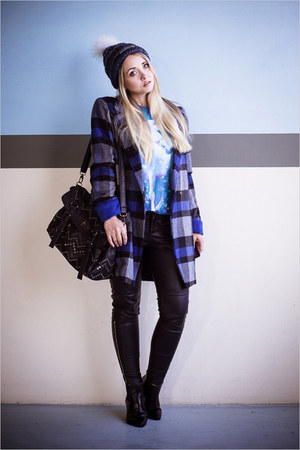 blue OASAP coat - black OASAP boots - blue merrell hat - black Chicwish bag