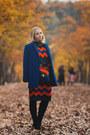 Black-romwe-boots-blue-romwe-dress