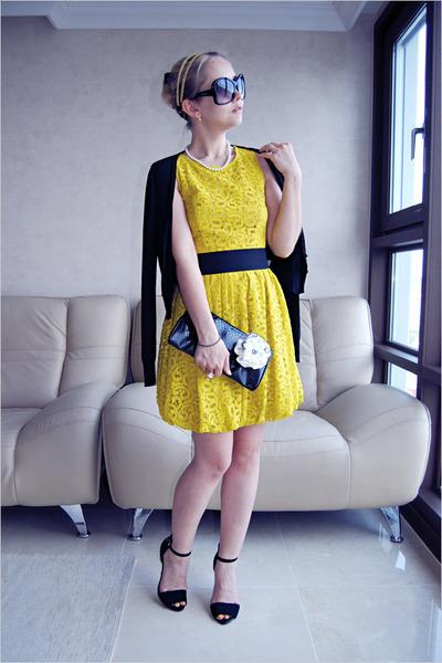 yellow asos dress - black Prada sunglasses - black Zara heels - cream asos ring