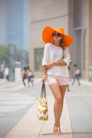 white Nine West bag - orange San Diego hat - white Chicwish shorts