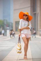 white Nine West bag - orange San Diego hat - white Chicwish shorts