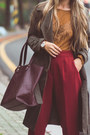 Brick-red-forever-21-bag-mustard-romwe-top