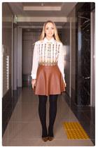 tawny Miss Nabi skirt - tawny Miss Nabi heels - white romwe blouse