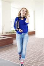 blue Forever 21 top - light blue Levis jeans - black OASAP bag