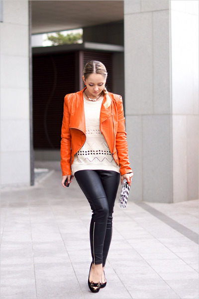 carrot orange Sheinside jacket - off white Sheinside sweater - white Zara bag