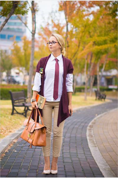 magenta Forever 21 cardigan - coral Romwecom bag - neutral Miss Nabi pants