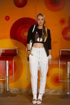 white kate spade bag - black Sheinside blazer - white OASAP heels