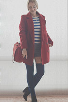 ruby red PERSUNMALL coat - black asos boots - ruby red Udobuy bag