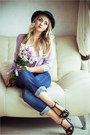 Navy-levis-jeans-black-river-island-hat-periwinkle-stylish-plus-blouse
