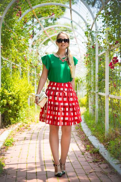 green Sheinside blouse - ivory Martofchina bag - aquamarine zeroUV sunglasses