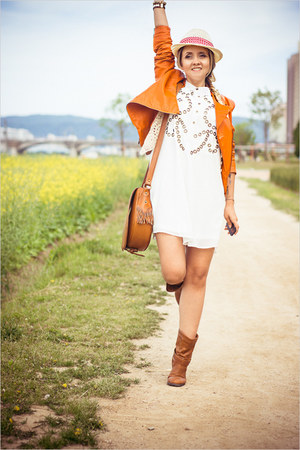 light orange Sheinside jacket - burnt orange sammydress boots - white Joa dress