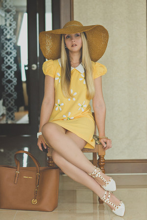 brown Miss Nabi hat - yellow OASAP dress - brown Michael Kors bag