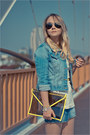 White-nowistyle-top-sky-blue-forever-21-jacket-yellow-romwe-bag